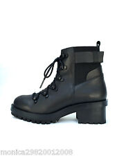 ZARA Cuir Noir à lacet Bottines Motard Chaussures Uk5 Eu38 US 7.5