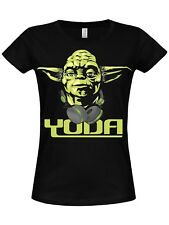 Star Wars - Cool Yoda Girly T-SHIRT (Black)