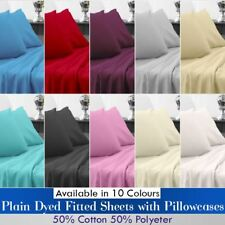 Polycotton Plain Dyed Fitted Sheet with Pillowcase Single, Double, King & SKing