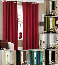 Faux Silk Curtains Eyelet Fully Lined Luxury Tie Back Ready Made Pair Ring Top