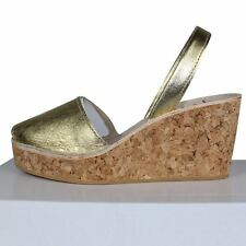 sandalias menorquinas cuña corcho ,spanish leather sandals wedge cork  .