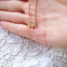 Gold or Silver Origami Geometric Elephant Necklace (Optional gift box)