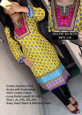 Selfie Style - Trendy Cotton Embroidered Printed Multi Color Long Kurtis / Kurta