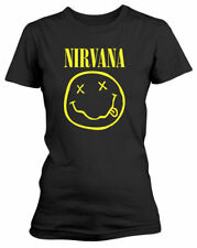 NIRVANA 'Smiley Logo' womens fitted T-SHIRT - NUOVO E ORIGINALE