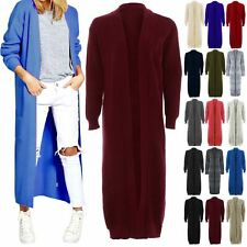 Ladies Chunky Knit Midi Length Longline Long Sleeve Womens Cardigan Top Jumper
