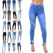 Ladies Womens Skinny Trousers Pants Ankle Ripped Destroyed Distress Denim Jeans