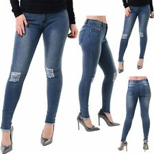 Ladies Womens Knee Destroyed Distress Faded Ripped Skinny Slim Fit Denim Jeans