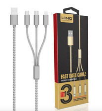 3 in 1 Multi USB Charging Cable Micro and Lightning 1.2M Tangle Free UK - Silver