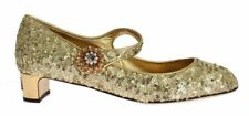 Gold Sequined Crystal Mary Janes Shoes