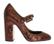 Bronze Leather Sequined Mary Janes Shoes