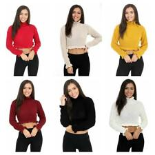 New Womens Ruffle Frill Plain Edge Knitted Chunky Crop Top Jumper Ladies Sweater