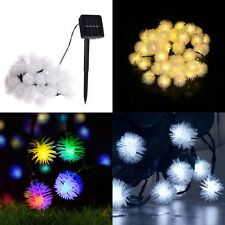 LED Night Lights 30LED 6M Furry Ball Solar Wire String Holiday Party Decoration