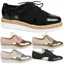 Loretta Womens Flats Low Heels Flatform Brogues Ladies Lace Up Oxford Shoes Size