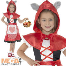 Little Red Riding Hood Girls Fancy Dress Kids Fairy Tale Book Childs Costume New