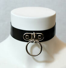 - Latex Bracketed O Ring Collar - Handmade in the UK - goth rubber gummi punk