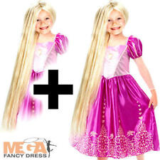 Rapunzel + Wig Princess Girls Fancy Dress Disney Tangled World Book Day Costume