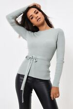 Ladies / Womens Pale Sage Ribbed Long Sleeve Jumper With Tie Waist