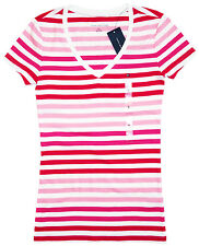 TOMMY HILFIGER Maglietta Donna T-Shirt Scollo a V Top Righe 100% Baumwolle XS -