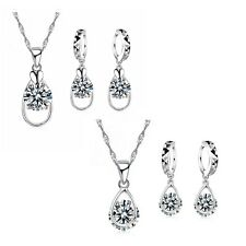 Women's 925 Silver Crystal Water Drop Pendant Necklace And Earring Gift Set UK