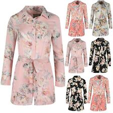 Ladies Floral Shirt Dress Belted Buttons Womens Long Sleeve Oversize Collared