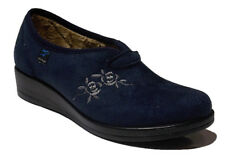 Pantofola Pantofole Invernali Donna Blu Confort Made In Italy Con Zeppa FLY FLOT