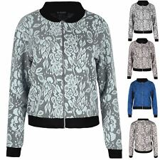 Ladies Womens Contrast Cuff Silver Zip Floral Leaf Collared Biker Bomber Jacket