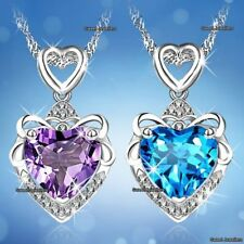 Love regali per lei Blu & cristallo viola diamante a Cuore Collane Wife (MOGLIE)