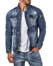EightyFive EF3641 Herren Denim Jeans Jacke Basic Destroyed Blau S-XL
