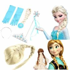 Frozen Princess Elsa Anna Gloves Tiara Crown Braid Wig Hair Piece Wand Kid Lot ~