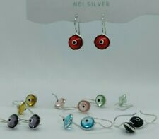 925 Sterling Silver Colour Glass Round Saucer Eye Drop Hook Earrings in Box