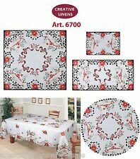 Holiday Embroidered Christmas Tree Poinsettia Placemat Table Runner Tablecl