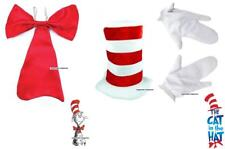 Book Week Day Fancy Dress Red Bow Tie & Hat & Gloves Cat In The Hat Set ADULTS