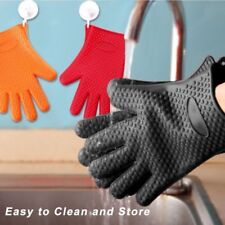 Set of 2 Barbecue Heat Resistant Silicone Gloves Oven Kitchen BBQ Cooking M