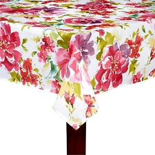 """Assorted Sizes """"Pink Fiona"""" Red Pink Purple Floral Fabric Tablecloth FREE S"""