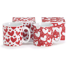 Red or White Valentine Gift Mug with Hearts Valentines Love Day Boxed Coffe