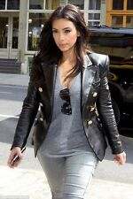 Kim Kardashian Double Breasted Leather Blazer