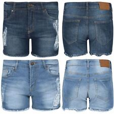 Ladies Ripped Raw Edges Womens Destroyed Distressed Faded Denim Hot Pant Shorts