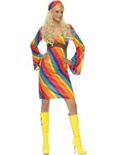 Adult Sexy 70s Rainbow Hippie Ladies Hippy Fancy Dress Hen Party Costume Outfit