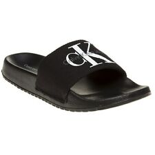 New Womens Calvin Klein Jeans Black Chantal Canvas Sandals Flats Slip On