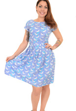 Mujer Run & Fly Retro Vintage Estilo 50's Vestido Tea Dress en Lila Unicornio