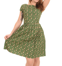 Mujer Run&fly Retro Vintage Estilo 50's Vestido Tea Dress en Verde con Flying