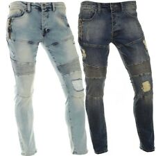 Mens Designer Knee Ripped Stretch High Quality Stone Wash  Mens Casual Jeans