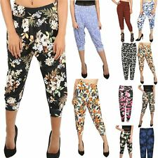 Womens Ladies Floral Print 3/4 Harem Cropped Ali Baba Bottom Trousers Pants 8-26