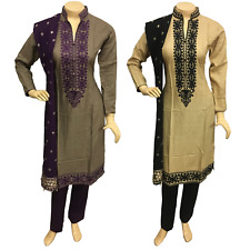 Indian Pakistani Embroidered Linen Trouser Suit, Stitched Shalwar Kameez Salwar