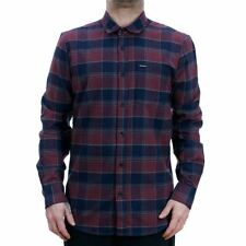 Volcom Caden Long Sleeved Flannel Shirt Crimson Red Navy 2018 Collection NEW