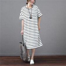 Round Neck Striped Cotton Material Short Sleeve Casual Women Dress