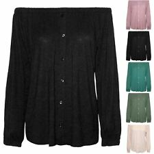 Womens Elastic Front Buttons Down Long Sleeve Off The Shoulder Ladies Bardot Top