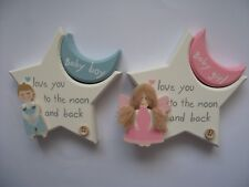 Angel with Star & Moon Plaque Sign Baby Girl Pink / Boy Blue Bedroom Nursery