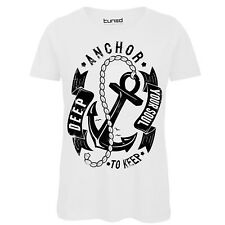 T-Shirt Divertente Donna Maglietta Con Stampa Frasi Anchor Deep Your Soul Tuned