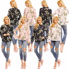 Chiffon Blouse Tunic Top Floral Pattern Ruffles Trumpet Sleeves S 34 36 38